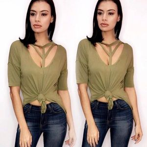Tops - Olive green high low top